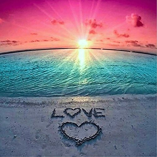 DIY 5D Diamond Painting by Number Kits, Crystal Rhinestone Diamond Embroidery Paintings Pictures Arts Craft for Home Wall Decor, Full Drill Canvas,Sunset Love Heart Beach (LX-161loveZZ-15.7x15.7in) by KTCLCATF