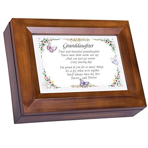 Cottage Garden Dear and Beautiful Granddaughter Dark Wood Finish Jewelry Music Box - Plays Tune You Are My Sunshine