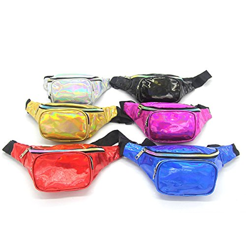 Gogoxm Womens Fanny Pack Waist Bag Water Resistant Chest Bags Holographic Waist Pack Glitter for Running Rave Festival Party Silver by Gogoxm (Image #2)