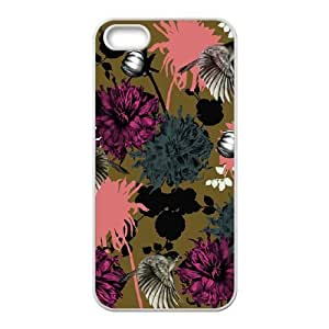 floral pattern flowers print purple green iPhone 5,5S Case White by tigerbrace