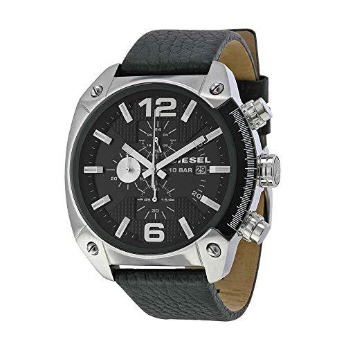 Diesel Men's DZ4341 Overflow Stainless Steel Black Leather Watch (Diesel Buckle Closure Belt)