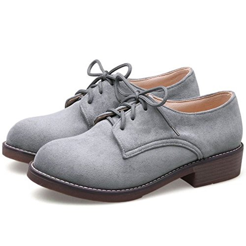 Mujer Bajos Tacon cordones RAZAMAZA Zapatos Classic Grey 6FdwBq