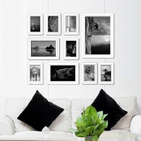 10 Piece Wooden Wall Hanging Collage Photo Picture Frame Wall Art Wood Art  Home Decor Multi