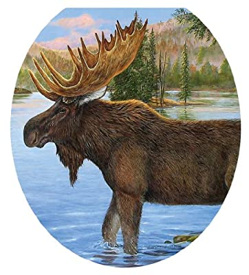 Toilet Tattoos, Toilet Seat Cover Decal, Majestic Moose, Size Round