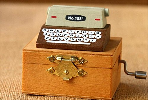 (Biscount Classic Exquisite Quality Typewriter Mini Music Box for Home Office Mechanical Decoration Kids Retro - brown)