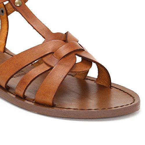 Alesya Scarpe&Scarpe - Flache Sandalen mit T-Bar, Leder Leder
