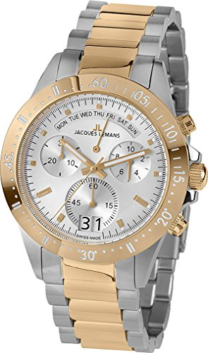 Jacques Lemans Men's Sport Jubilaeumsuhr 44mm Two Tone Steel Bracelet Steel Case Quartz Watch 40-10C