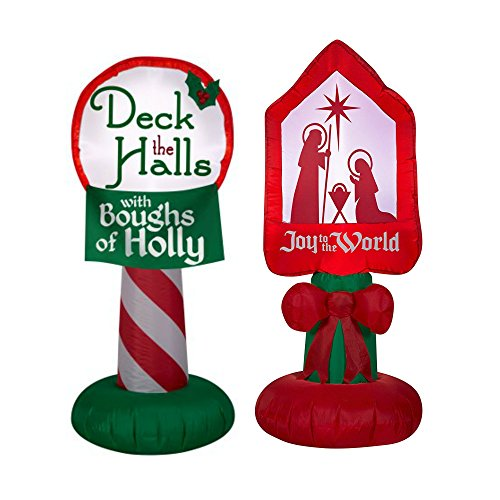 Christmas Nativity Joy To The World Light Up Self Inflatable Yard Decor and Airblown Holiday Inflatable Deck the Halls with Boughs of Holly sign 3.5 ft tall Outdoor Christmas Decorations Joy Sign