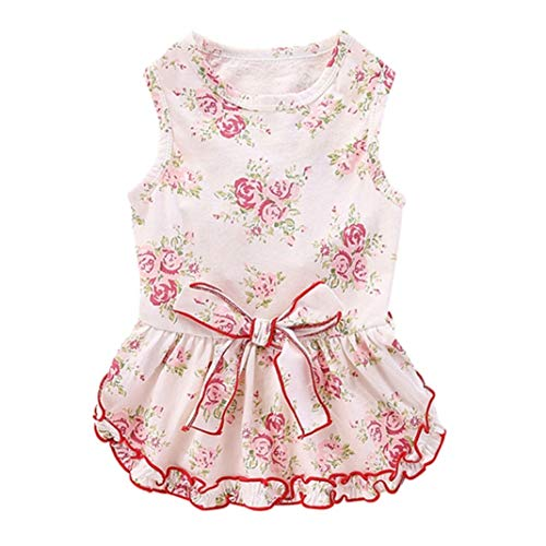 LVYING Pet Summer Sleeveless Vest Dress Dog Girls Decorative Small Floral Skirt with Bowknot Cute Ruffled Coat