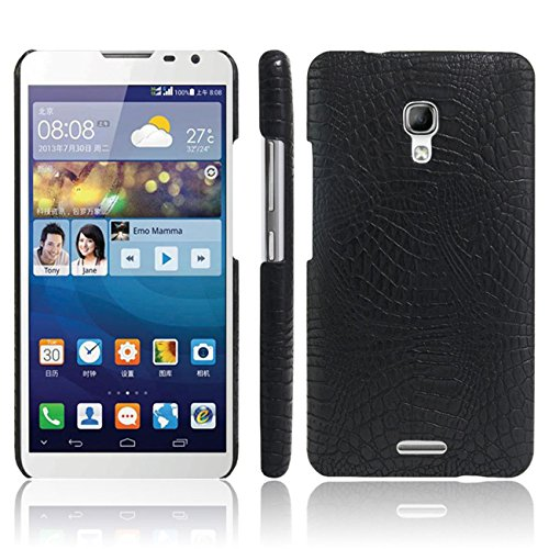 Huawei Mate 2 Case, HualuBro [Ultra Slim] Premium Crocodile Pattern Lightweight Leather Phone Protective Case Cover for Huawei Ascend Mate 2 Smartphone (Crocodile Cover Black) (Huawei Ascend Mate 2 Wallet Case)
