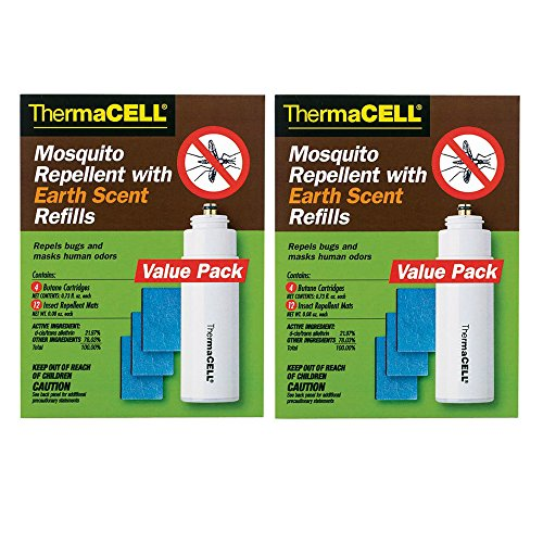 (Thermacell E-4 Mosquito Repeller Refill with Earth Scent, Two 48 Hour Packs (24 Mats + 8 Fuel Cartridges))