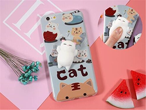 Squishy Cat Embossed kneading Dolls Smartphone Case Soft Animal Cases Iphone 7/7S Plus 5.5INCH, Silicone Squishy Toy Finger Stretch Compress Back (Cat Embossed Sticker)