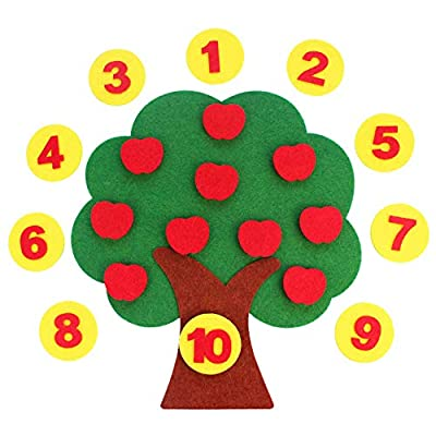 zhenleisier DIY Craft Cloth Apple Tree Shape Digital Pairing Cognition Interactive Development Educational Kids Toy Gift: Home & Kitchen