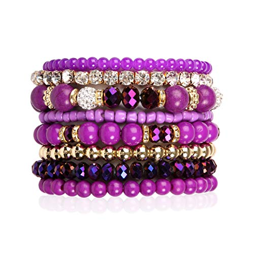 RIAH FASHION Multilayer Beaded Stretch Stacking Bracelets - Multi Strand Colorful Sparkly Beads Statement Wrap Slip-on Cuff Bangles (Mix Bead - Dark Purple)
