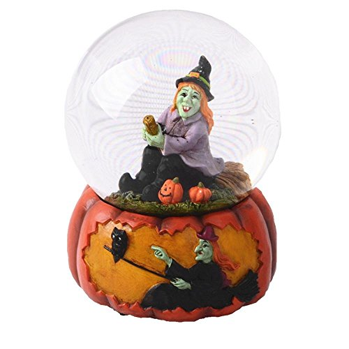 Witch Globe (Lightahead 100MM Halloween Water Globe with Black Snowflakes & music playing Water ball Table Top Decoration Gift in Polyresin (Witch on Broom))