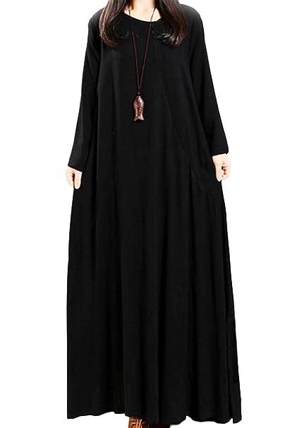 Sevozimda Ropa Mujer Vestidos Vintage Loose Long Sleeve Swing Maxi Vestido Retro Black S