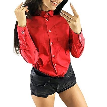 LILICAT® Moda Mujer Casual Collar de Solapa Sólido Botón de Manga Larga Camisa con Bolsillo