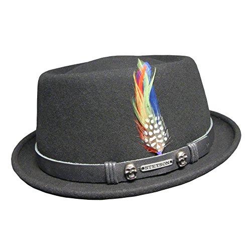 Hat Stetson Classic (Stetson Black Pennsylvania Wool Felt Rock 'N' Roll Classic Pork Pie Hat L (59cm))