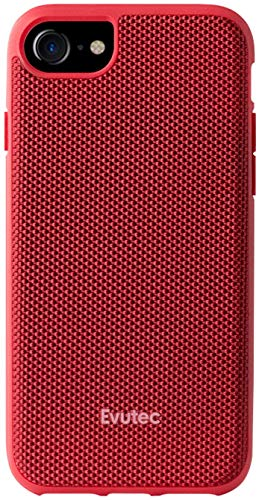 Evutec Case Compatible with iPhone 6/6s/7/8, Ballistic Nylon Premium Protective Military Grade Drop Tested Shockproof Phone Case with AFIX+ Vent Mount-Red
