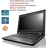 "Lenovo ThinkPad L430 14.0"" Wide Screen Flagship Laptop (Intel Core i5 2.6 GHZ, 120GB SSD 4GB RAM, Windows 7 Professional) (Certified Refurbished)"