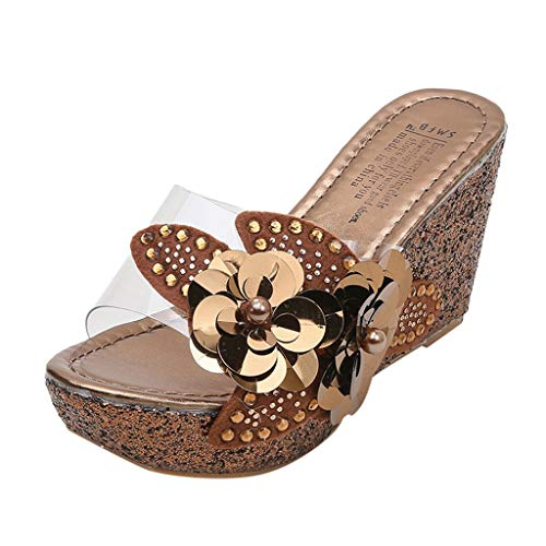 Sanyyalsy Women Double Flower Diamond Plated Wedge Slippers Slip On High Platform Perspective Clear Single Band Slippers Brown