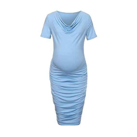 Cinnamou Premamá vestido mujeres embarazadas vestido de Plisado la falda de las mujeres de manga corta