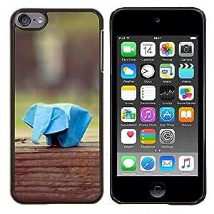 EJOOY---Cubierta de la caja de protección para la piel dura ** Apple iPod Touch 6 6th Touch6 ** --Paper Plane Animal Elefante Azul Arte
