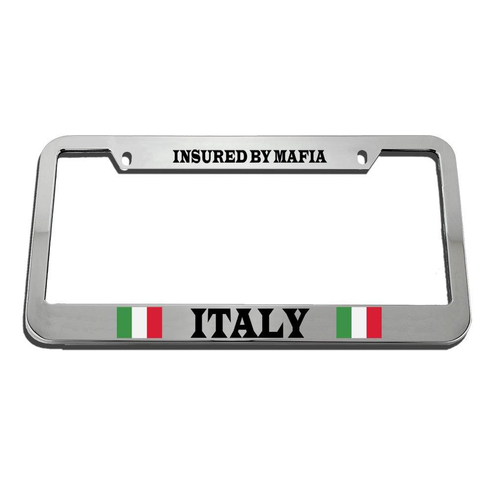Speedy Pros Italian Italy Flag Insured By Mafia Humor Funny License Plate Frame Tag Holder