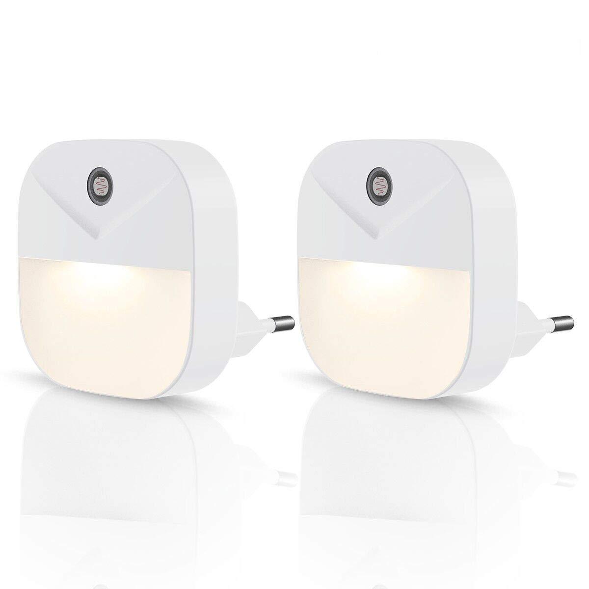 Fluren Energieeffizient Steckdosenlicht Treppen 2 St/ück 2700K Warmwei/ß Lichter LED Nachtlicht mit D/ämmerungssensor Automatik ein//aus f/ür Kinderzimmern DORESshop Plug-In Lichtsensor Lampen
