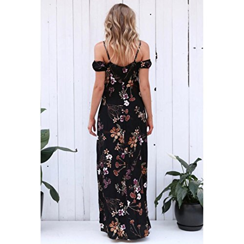 Boho Beach Floral Sexy Femme Noir Dress Avec OverDose Robe Robe DNudEs Ete Sundress Longue Paules Maxi Fleurs 7pHqpA