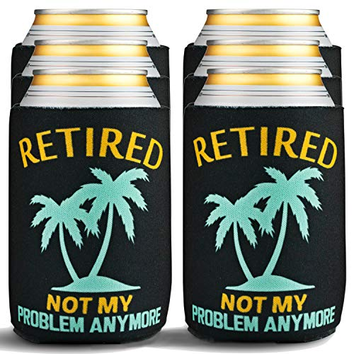Retirement Gifts for Men Funny - 6-Pack of Premium Can Coolers - Beer Sleeves for Retirement Gifts for Women or Retired Gifts for Men - 6 Beer Cooler Insulated Sleeves, Black with Palm Tree Design (Best Budget Coffee Machine 2019)