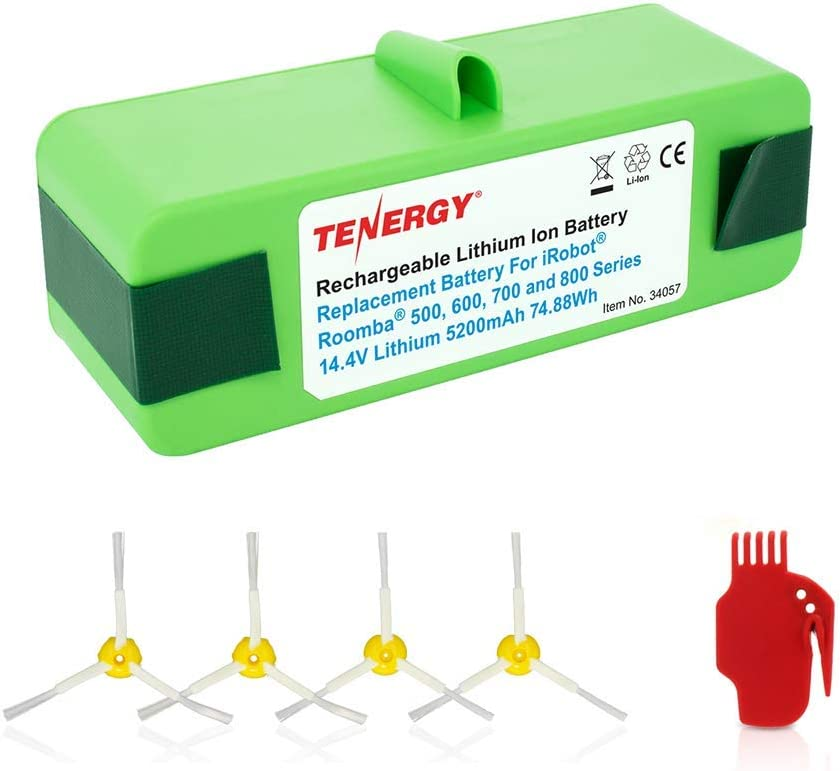 Tenergy 5200mAh Replacement Battery for iRobot Roomba R3 500 600 700 800 Series, 5.2Ah 14.4V Advanced Power System (APS) Li-ion Roomba Battery Bonus 4 Side Brushes and 1 Brush Cleaning Tool