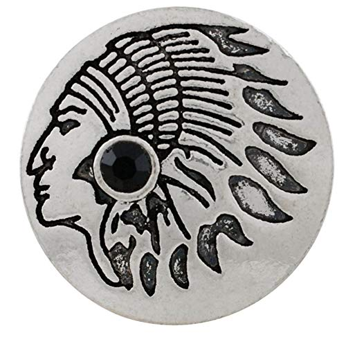 (Rockin Angels Silver Black Rhinestone Native Indian 20mm Snap Charm for Ginger Snaps Jewelry)