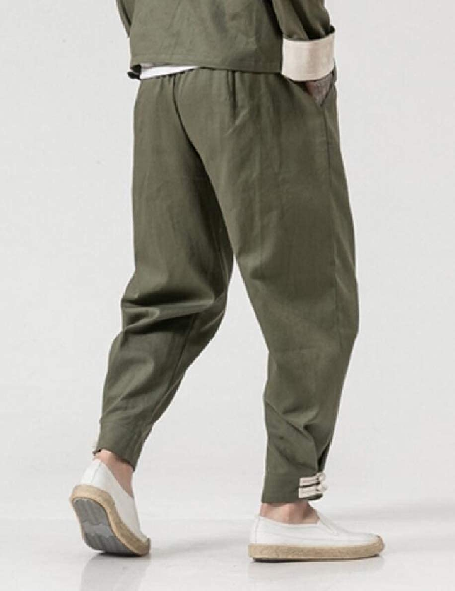 FLCH+YIGE Mens Solid Cotton Linen Harem Pant Elastic Waist Casual Pants Trousers