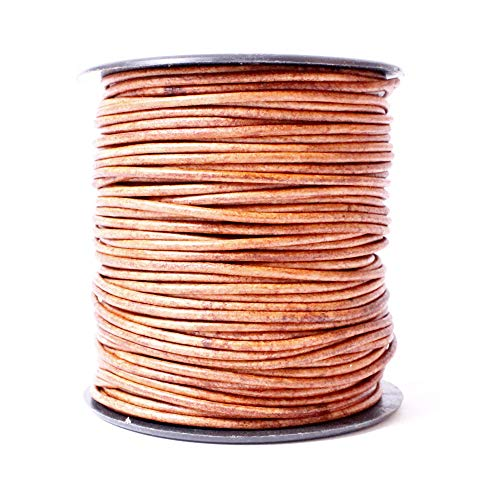 Leather Cord USA Premium Round Leather Cord, Genuine Leather, 1.5mm, 10 Meter (11 yd) Spool, Splice Free, Ideal for Jewelry (409 Natural Light Brown)