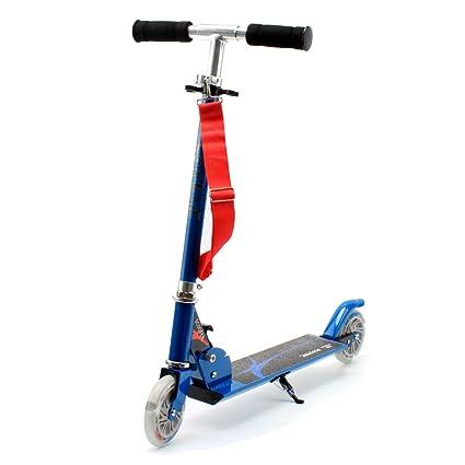 HONKID Patinete Aluminio con 2 Ruedas - Scooter Patinete Plegable 85cm Altura Ajustable para niños de 3-12 años de Edad, Azul