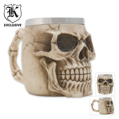 K EXCLUSIVE Realistic Fantasy Skull Coffee Mug And -