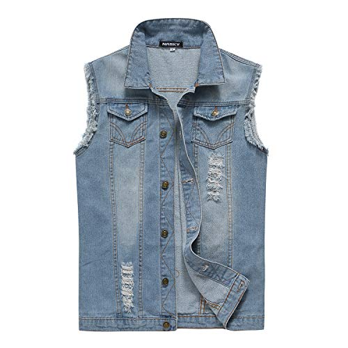 NASKY Men's Fit Retro Ripped Denim Vest Sleeveless Jean Vest and Jacket (Light Blue, US X-Large)