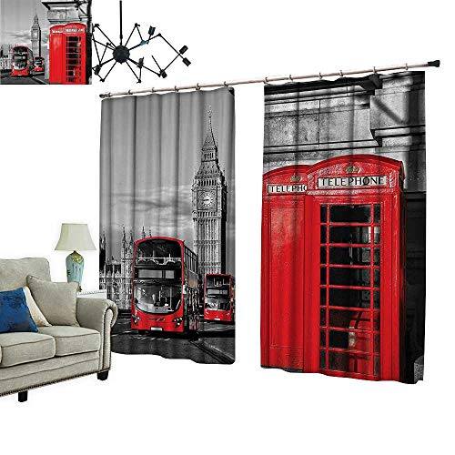 (PRUNUS Decorative Curtains has Hook Telephe Booth in The StreTraditial Local Cultural Ic England UK Ret Machine Washable for Easy Care,W96.5 xL72)