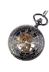 CredDeal Steampunk Pocket Watch Pendant Roman Number Half Hunter - Antiqued Silver Black With Gift Box PW039