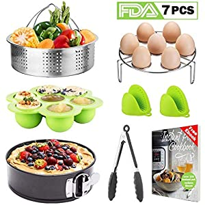 7-Pcs Pressure Cooker Accessories with InstantPot-Fits 5,6,8 Qt instapot, Stainless Steel Steamer Basket/Egg Steamer Rack/Food Tongs/Food Grade Silicone Egg Bites Molds And Mini Mitts, Best Gifts