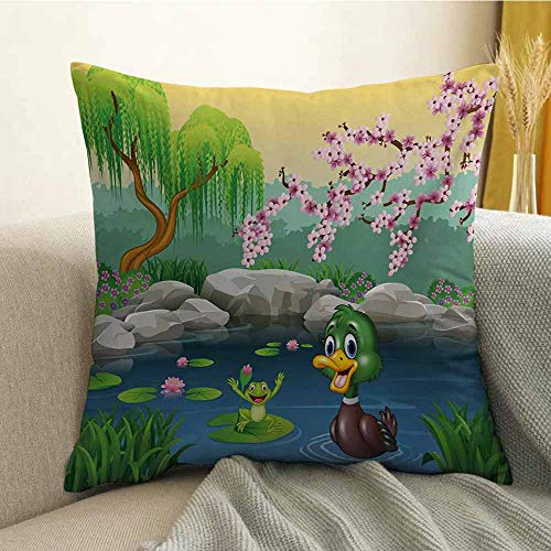 (Cartoon Bedding Soft Pillowcase Vector Cute Ducks Frogs in a Lake Pond Trees Image Kids Nursery Design Artwork Hypoallergenic Pillowcase W24 x L24 Inch Multicolor)