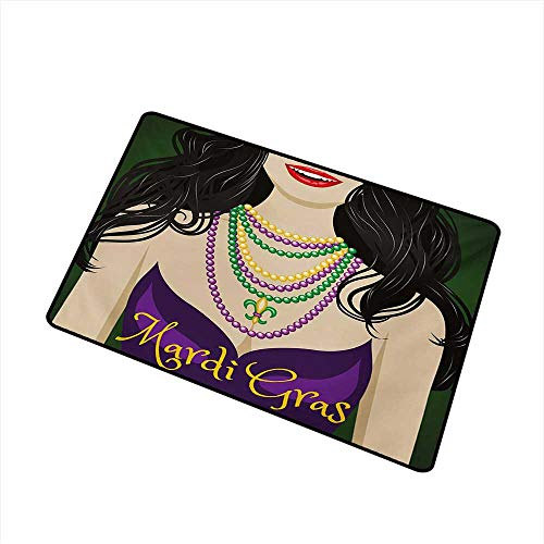 BeckyWCarr Mardi Gras Front Door mat Carpet Young Woman with Party Dress and Necklace with Fleur De Lis Symbol Accessories Machine Washable Door mat W31.5 x L47.2 Inch,Multicolor