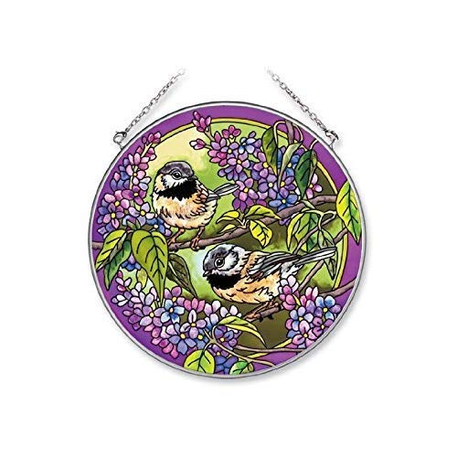 Amia Handpainted Glass Chickadee Suncatcher 6-1//2-Inch