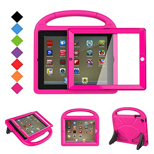 - BMOUO Kids Case for iPad 2 3 4 - Shockproof Hard Cover Convertible Handle Stand Kids Case with Built-in Screen Protector for Apple iPad 2nd 3rd 4th Generation (Rose)