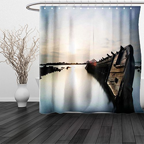 HAIXIA Shower Curtain Ocean Big Sinking Rustic Boat Crash in the Lake Landscape with Horizon on Back Queen Full Light Blue Brown (San Francisco 49ers Oval Ring)