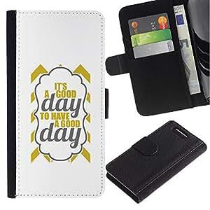 Stuss Case / Funda Carcasa PU de Cuero - Es un texto Good Day Oro gris minimalista - Sony Xperia Z3 Compact