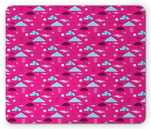 Far Eastern Mouse Pad, Tribal Pattern with Clouds Waves Japanese Chinese Elements, Standard Size Rectangle Non-Slip Rubber Mousepad, Pink Pale Blue and Dark Purple
