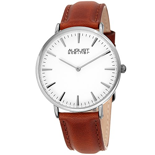 August Steiner Women's AS8247SSBR Ultra Slim Silver & Brown Leather Strap Watch