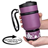 Double Shot 3.0 French Press Travel Coffee Mug, 16 oz - Brü-Stop Technology with Storage Base and Spill Proof Lid - Stainless Steel with Non-Slip Texture - Wild Plum Purple